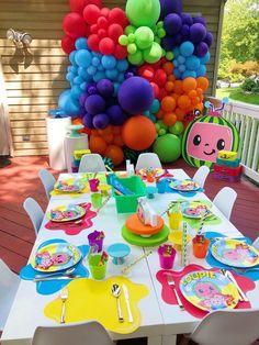 2nd Birthday Party For Boys, 1st Birthday Party Decorations, Birthday Ideas, Watermelon Birthday Parties, Leelah, Purple Balloons, Rainbow Balloons, Party Ideas, Birthdays