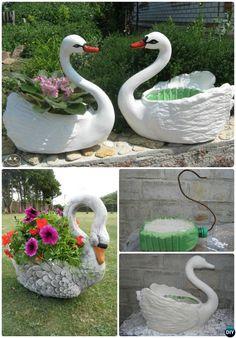 DIY Plastic Bottle Concrete Swan Planter Instructions-Concrete Planter Ideas