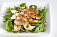 Pecan Crusted Chicken & Apple Salad with Maple Balsamic Vinaigrette Recipe by Kitchen Simplicity | Maypurr