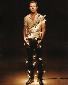 There Be Light! 20 Festive Holiday Light Ideas Ryan Gosling Wrapped in Christmas Lights: I'll just leave this here.Ryan Gosling Wrapped in Christmas Lights: I'll just leave this here. Ryan Gosling, Stephen Amell, I Smile, Make Me Smile, Dear Photograph, All I Want For Christmas, Merry Christmas, Christmas Lights, Dia Del Amigo
