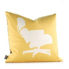 1956 Pillow 18x18 Sunflower, $45, now featured on Fab. [Eames Lounge Chair, 100% recycled, Mike Tuttle, Jennifer Smith Tuttle, Inhabit]