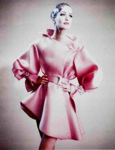 Karen Mulder by Paolo Roversi.Lanvin Haute Couture (Spring 1991) pinkdress.