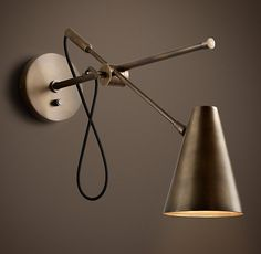20th C. Torpedo Sconce Vintage Brass for family room from Restoration Hardware