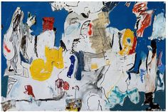 EDDIE MARTINEZ Island I, 2014 oil, enamel, spray paint, collaged baby wipe and computer printout on canvas 72 × 108 in × cm Contemporary Wall Art, Contemporary Artists, Eddie Martinez, Collor, Painting Collage, Abstract Expressionism, Abstract Art, Abstract Paintings, Les Oeuvres