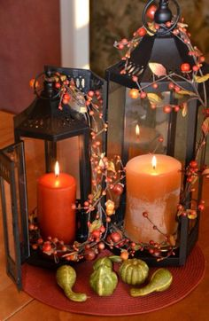 20 Fall Decorating Ideas, Expert Tips for Making Halloween Decorations and Thanksgiving Centerpieces – Thanksgiving Decorations – Grandcrafter – DIY Christmas Ideas ♥ Homes Decoration Ideas Fall Lanterns, Lanterns Decor, Fall Candles, Candle Lanterns, Decorating With Lanterns, Orange Candles, Decorative Lanterns, Ideas Candles, Hurricane Lamps