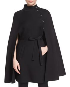Stand-Collar+Belted+Cape,+Black+by+Carolina+Herrera+at+Neiman+Marcus.