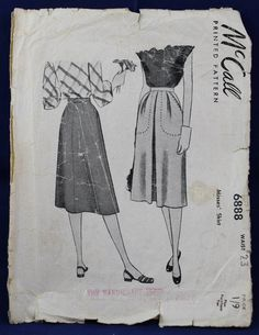 1940's Sewing Pattern for a Skirt in Size 8 - McCall's 6888 by TheVintageSewingB on Etsy