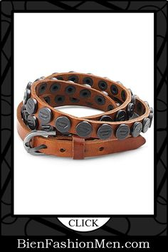 Mens Leather Cuffs | Mens Bracelets | Mens Jewelry | Mens Accessories | Bracelets on Men | Mens Jewelery | Shop Now ♦ Wrap-Around Adjustable Genuine Leather Bracelet with Stainless Steel Black IP Beads for Men $30.00