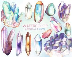 Watercolor Crystals and Gems Clipart 13 Hand by KennaSatoDesigns