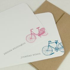 vintage bike personalized stationery set 12 choose color personalized stationary flat note cards - Personalized Flat Note Cards