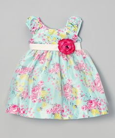 Green & Pink Rose Dress - Infant, Toddler & Girls | Daily deals for moms, babies and kids