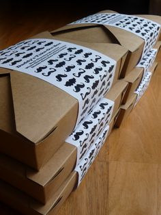 Father's Day Take-Out Goody Boxes. Kraft take-out box with moustache themed sleeve.