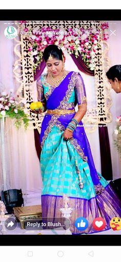 Saree Designs Party Wear, Wedding Saree Blouse Designs, Half Saree Designs, Dress Designs, Saree Wedding, Cutwork Blouse Designs, Blouse Patterns, Half Saree Lehenga, Saree Dress