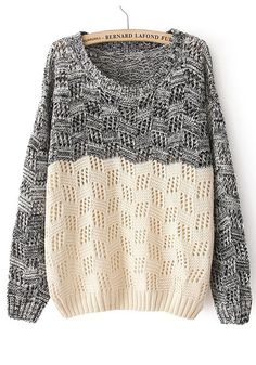 Black Beige Patchwork Long Sleeve Loose Cotton Sweater