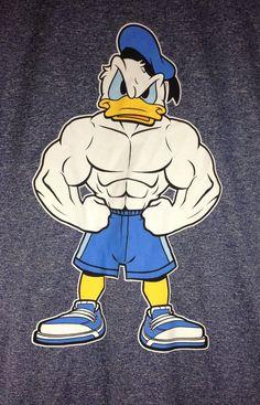 "Disney $19.99 Muscle/Bodybuilding/Workout/Gym Donald Duck ""Hard Duck"" Men's T-Shirt New #Disney #GraphicTee"