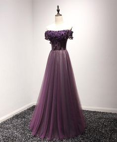 Purple tulle lace off shoulder long prom dress, purple evening dress