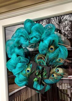 ~ I'M NOT MESSY... I'M JUST BUSY ~: Peacock Deco Mesh Wreath