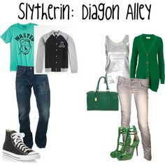 A fashion look from December 2011 featuring green cardigan, short sleeve t shirt and scoop neck top. Browse and shop related looks. Harry Potter Dress Up, Always Harry Potter, Harry Potter Style, Harry Potter Outfits, Slytherin Pride, Slytherin Aesthetic, Disney Inspired Outfits, Themed Outfits, Fandom Fashion