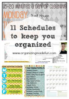 11 Schedules to keep you Organized - put them in your Cozi calendar to stay on task!