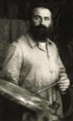 Jan Sluijters with palette in hand [1919]. - Staat al op Bergense school.