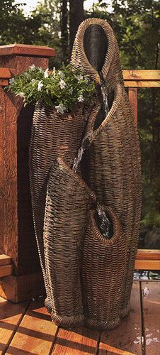 Enjoy the soothing waterfall of this Basket Fountain Dream Garden, Garden Art, Garden Design, Willow Weaving, Basket Weaving, Water Features In The Garden, Garden Fountains, Water Garden, Garden Inspiration