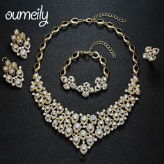 OUMEILY Jewelry Sets For Women Wedding Accessories African Beads Party Gold Plated Imitation Crystal Pendant  Necklace Earrings