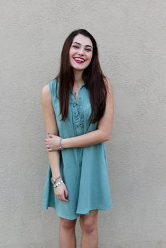 Sleeveless Mint Lace-Up Dress #iHeartDSP