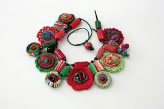 Handmade crochet necklace with bamboo and textile beads, red green, OOAK. $99.00, via Etsy.