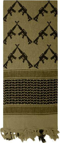 Olive Drab Shemagh Arab Tactical Desert Keffiyeh Scarf w/ Crossed Rifles | 8737 OD | $9.99