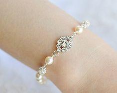 Perlas Swarovski y pulseras de Novia de cristal por BridalDiamantes