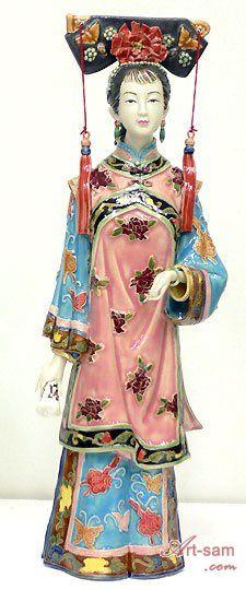 Qing Dynasty Lady - Shiwan Chinese Ceramic Lady Figurine : Art-sam.com