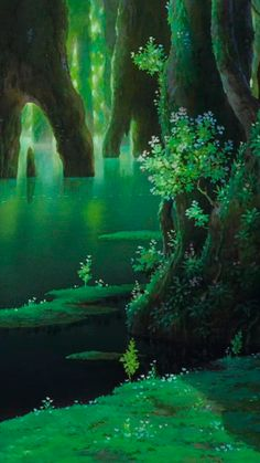 Studio Ghibli Background, Secret World Of Arrietty, Japanese Animated Movies, Studio Ghibli Art, Castle In The Sky, Landscape Prints, Hayao Miyazaki, Fantasy Landscape, Colorful Backgrounds