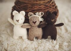 Mini Brambles Bear by Amanda Keeys - How cute is this little knitting pattern? Download it at LoveKnitting