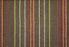 Bukhara Stripe Fabric A woven fabric in taupe with thin stripes of pink, yellow and cream with wider red and pink stripes incorporating subt...