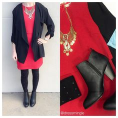 SEE IT ON   WHEN IN DOUBT, WEAR RED! See you today until 6pm. #dressmingle #redhot #reddress #christmasdress #kendrascott #studdedtights #statementnecklace #ootd