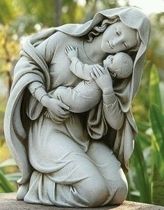 Kneeling Madonna and Child garden statue. Beautiful loving Madonna and child figure for garden, grave or chapel. Modern style yet traditional figure of the Catholic faith. Dimensions : Made of resin and stone Joseph Garden Collection Blessed Mother Mary, Blessed Virgin Mary, Catholic Art, Religious Art, Religious Gifts, Outdoor Statues, Mama Mary, Mary And Jesus, Cemetery Art