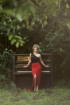 Photo Credit: Angie Davis Photography.  Angie Davis photo shoot styled by Love R.O.C.S. Outdoor fashion shoot in red dress with piano.