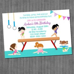 Hey, I found this really awesome Etsy listing at https://www.etsy.com/listing/123345317/sale-gymnastics-birthday-invitations-diy