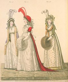 Gallery of Fashion, evening dresses, February This fashion plate is wonderful, mostly because of the description. The two dresses on the right are described as polonaise, known far and wide as the dresses with the rucked-up skirts Historical Costume, Historical Clothing, Female Clothing, Clothing Styles, Rococo Fashion, Vintage Fashion, Regency Dress, Regency Era, 18th Century Costume