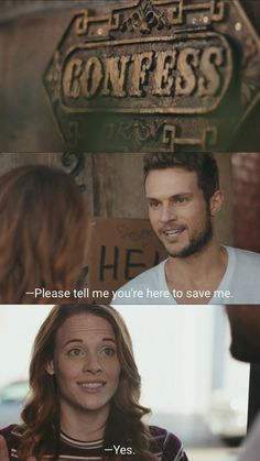 """""""-Please tell me you're here to save me. -Yes.""""  Confess, Owen & Auburn."""