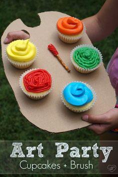 Fun art party cupcak