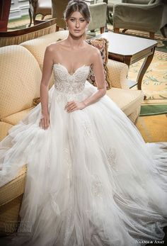 naama and anat 2018 bridal strapless sweetheart neckline heavily embellished bodice tulle skirt princess romantic ball gown a line wedding dress sweep train (blessed) mv -- Naama