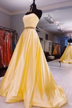 Strapless Zipper Up Long Yellow Prom Dress Pretty Prom Dresses, Sweet 16 Dresses, Grad Dresses, Dance Dresses, Homecoming Dresses, Cute Dresses, Beautiful Dresses, Sweet Sixteen Dresses, Chiffon Dresses