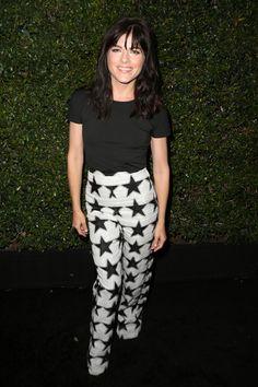 Selma Blair Print Pants - Selma Blair went for a punchy finish with black-and-white star-print pants, also by Max Mara.