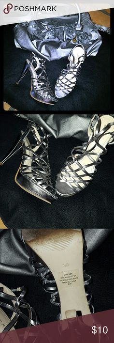"Fisher Stiletto Heels Silver cage platform stiletto heels. Heel: 4 1/2""; platform: 1""  Scuff mark on right heel. Marc Fisher Shoes Heels"