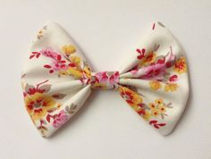 Pink yellow floral bow fabric hair bow clip white cotton