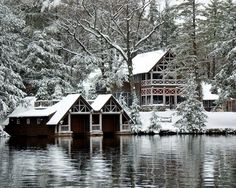 Snowy lake setting with beautiful home