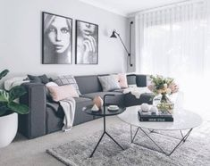 scandi syle living room idea with gray sofa living room Living Room Stands, Living Room Grey, Small Living Rooms, Living Room Sofa, Living Room Interior, Apartment Living, Cozy Apartment, Charcoal Sofa Living Room, Charcoal Couch