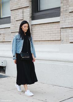 Acne Studios denim jacket, Tess Giberson black dress, Adidas Stan Smith trainers + Givenchy bag | Andy Heart | @styleminimalism