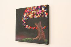 Button Tree Wall Art  Button Painting  Abstract Tree by AngleAh, $75.00